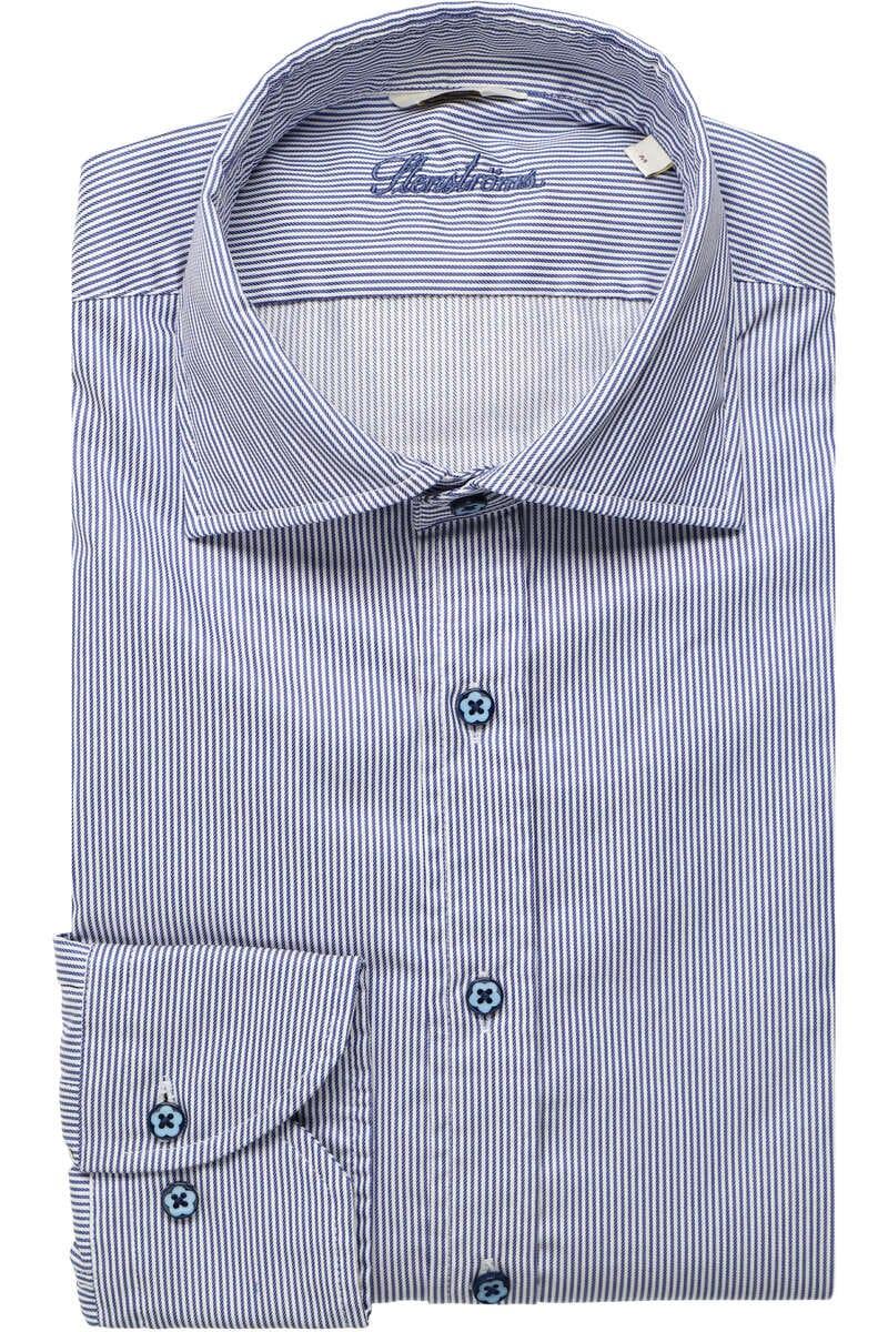 Stenströms Fitted Body Hemd blau/weiss, Gestreift M