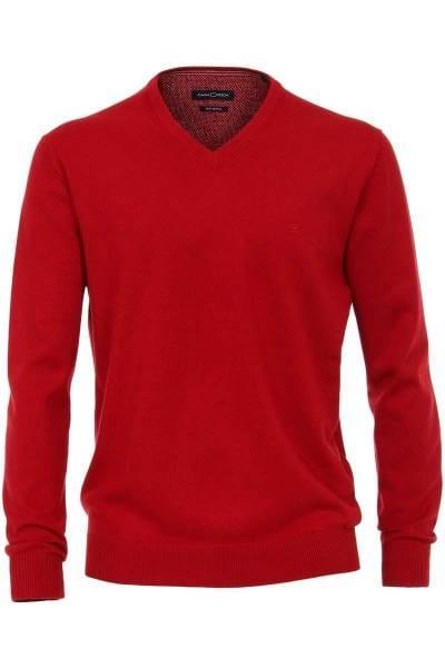 Casa Moda Strickpullover V-Ausschnitt rot, einfarbig