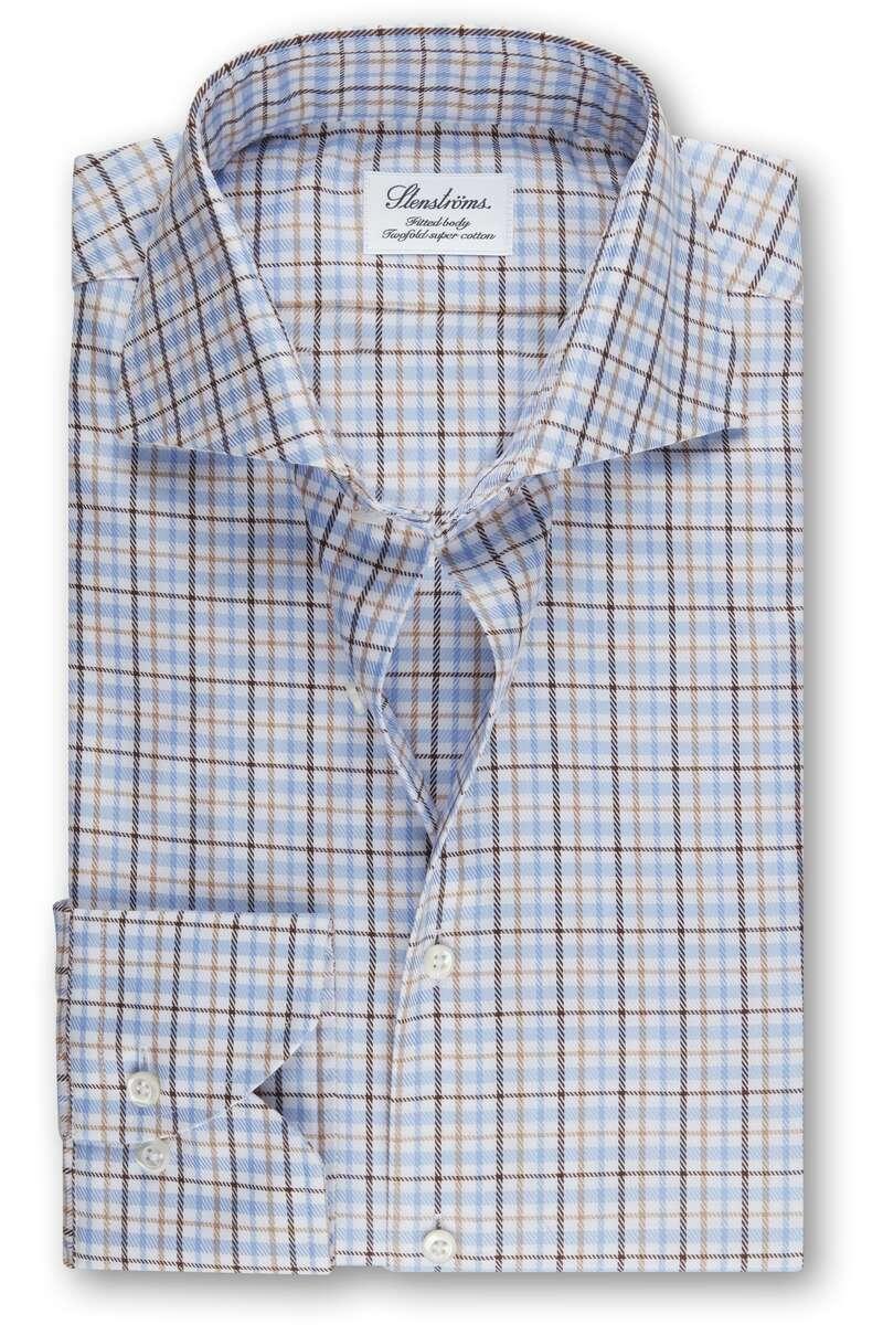 Stenströms Fitted Body Hemd blau/braun, Kariert 43 - XL