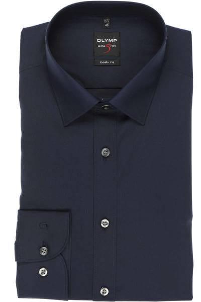 Olymp Level Five Body Fit Hemd nachtblau, Einfarbig
