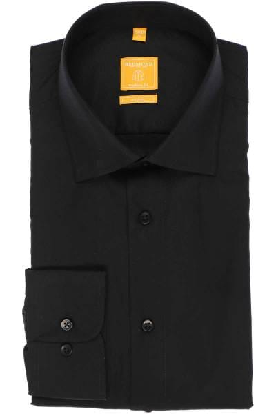 Redmond Modern Fit Hemd schwarz, Einfarbig