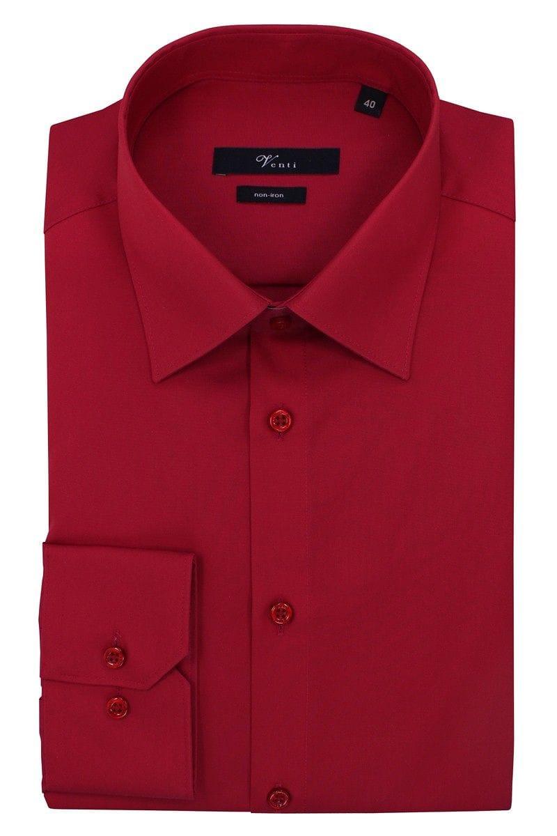 Venti Hemd - Slim Fit - rot, Einfarbig