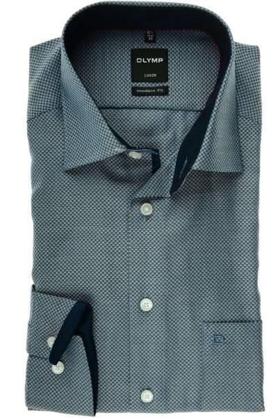 Olymp Luxor Modern Fit Hemd marine, Gemustert
