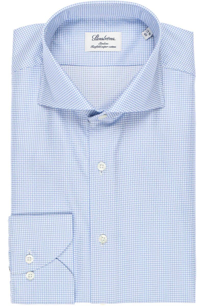 Stenströms Slimline Hemd blau/weiss, Kariert 43 - XL
