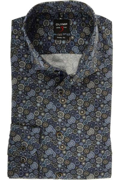Olymp Level Five Body Fit Hemd blau/grau, Paisley