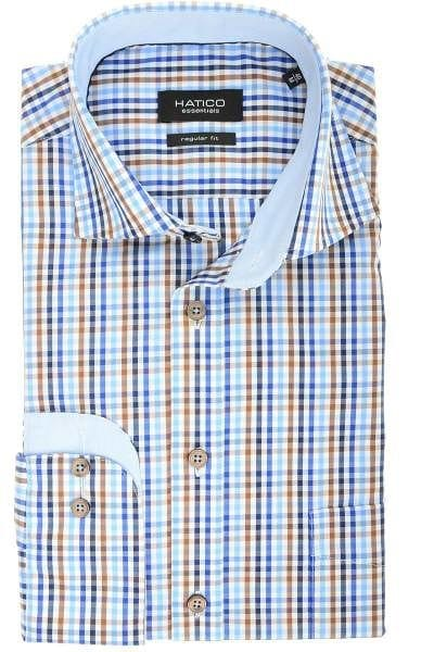 Hatico Regular Fit Hemd mittelblau, Kariert