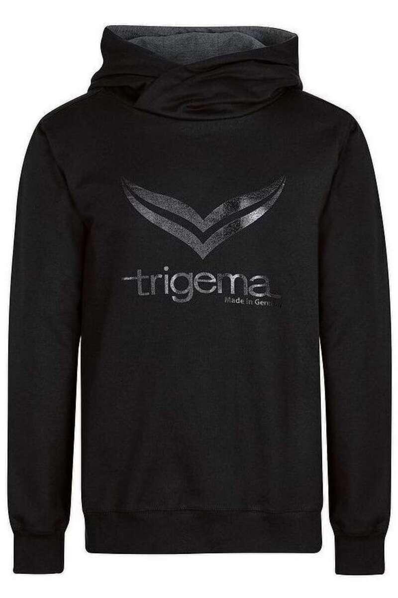 TRIGEMA Slim Fit Kapuzen Sweatshirt schwarz, bedruckt M