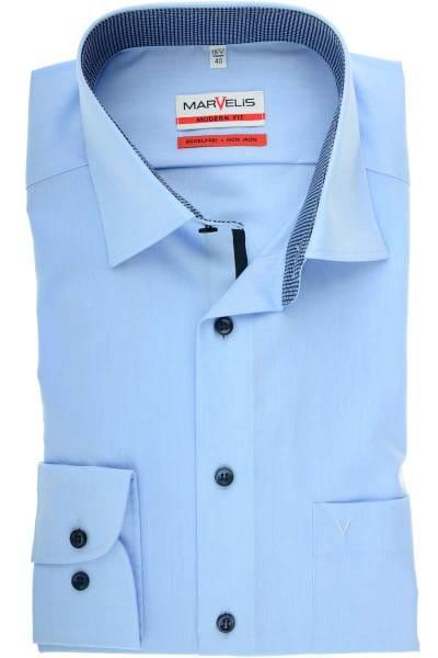Marvelis Modern Fit Hemd bleu, Einfarbig