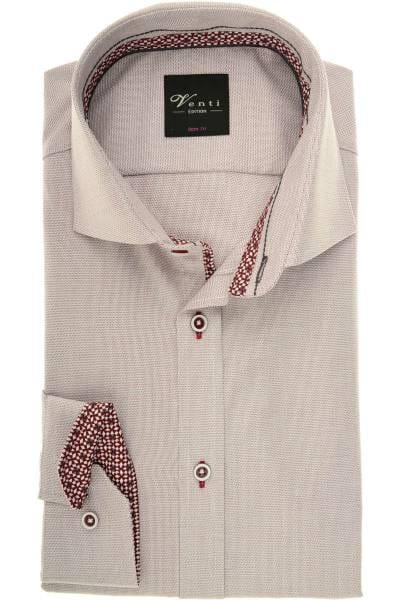 Venti Body Fit Hemd bordeaux/weiss, Strukturiert