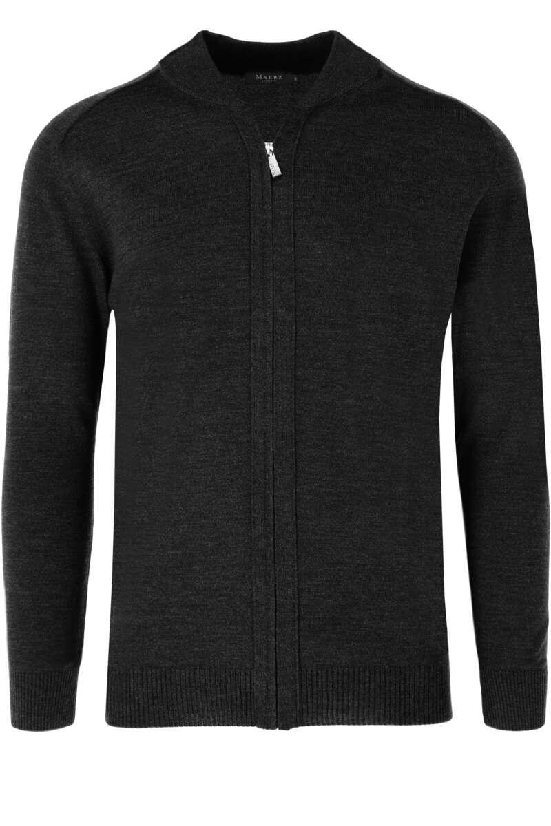 MAERZ Classic Fit Cardigan Zip schwarz, einfarbig 64