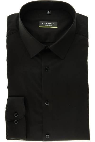 Eterna Hemd - Super Slim - schwarz, Einfarbig