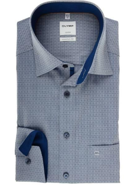 Olymp Luxor Comfort Fit Hemd marine, Gemustert