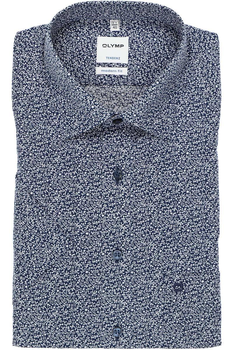 OLYMP Tendenz Modern Fit Hemd marine/weiss, Blumen