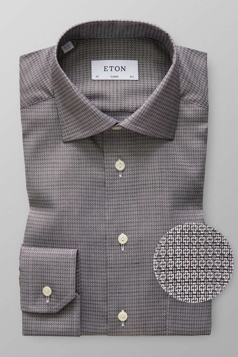 ETON Classic Fit Hemd schwarz, Faux-uni 42 - L
