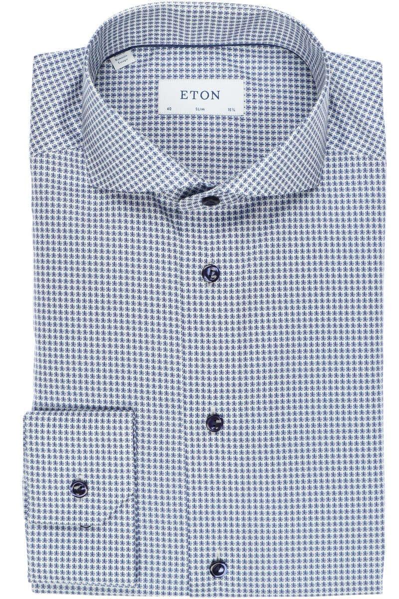 ETON Slim Fit Hemd blau/weiss, Gemustert 40 - M