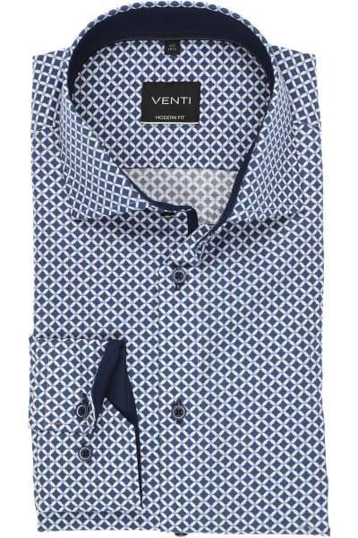 Venti Modern Fit Hemd marine/blau/weiss, Gemustert