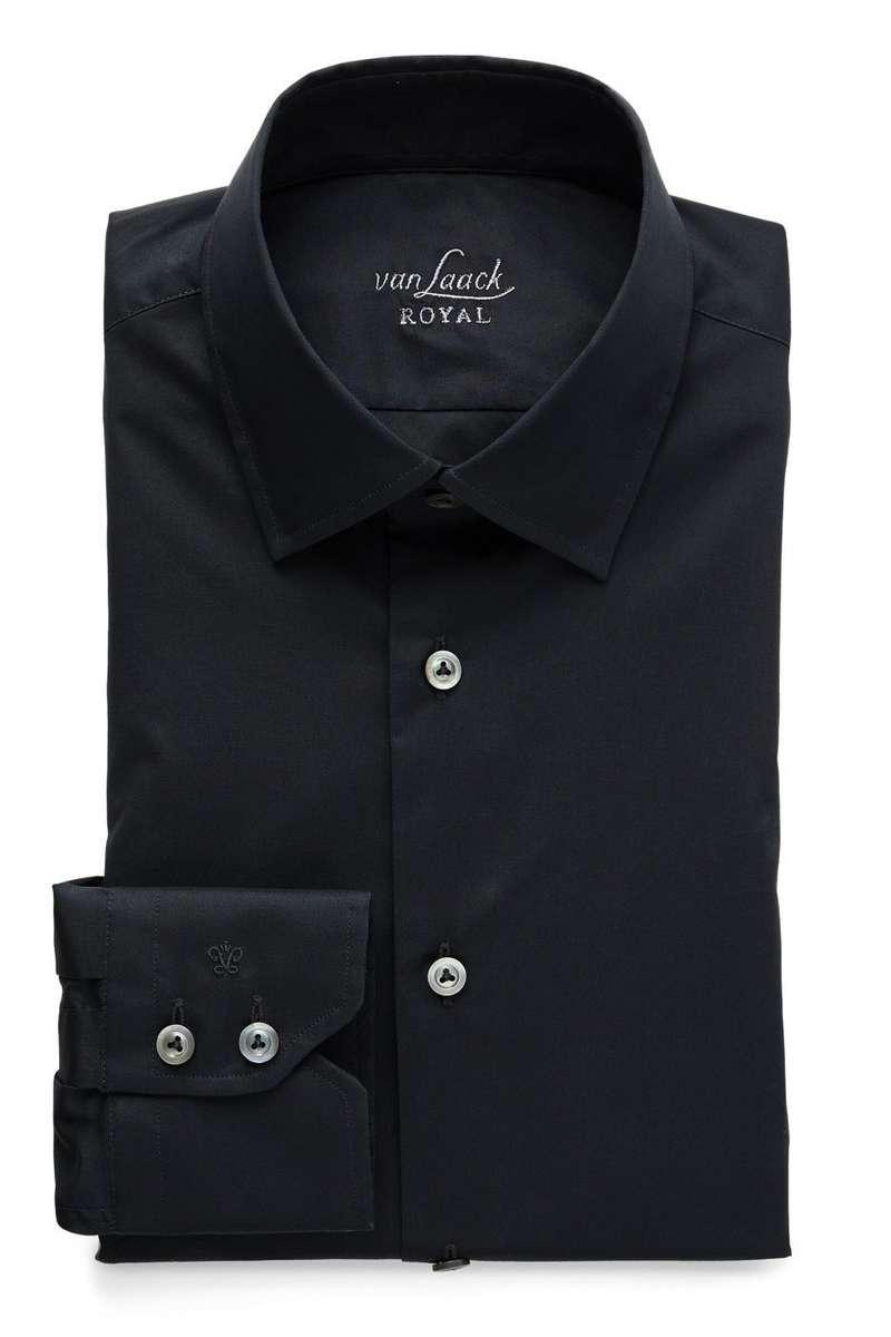 Van Laack Slim Fit Hemd schwarz, Einfarbig 40 - M