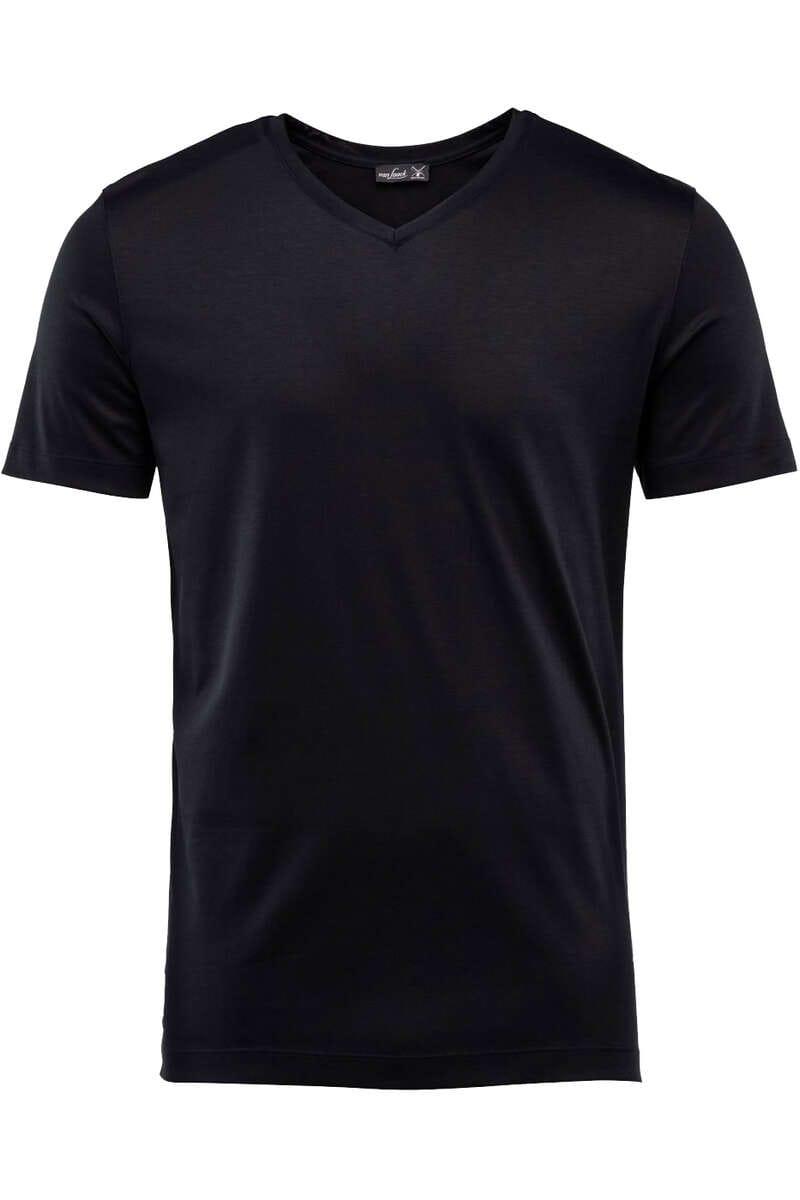 van Laack T-Shirt V-Ausschnitt schwarz, einfarbig M