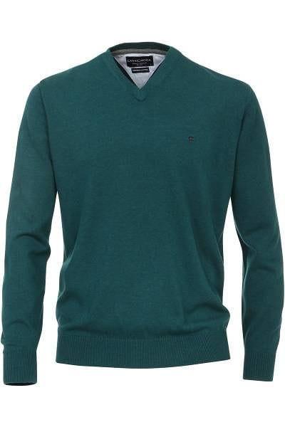 Casa Moda Strickpullover V-Ausschnitt Pullover - dunkelgrün