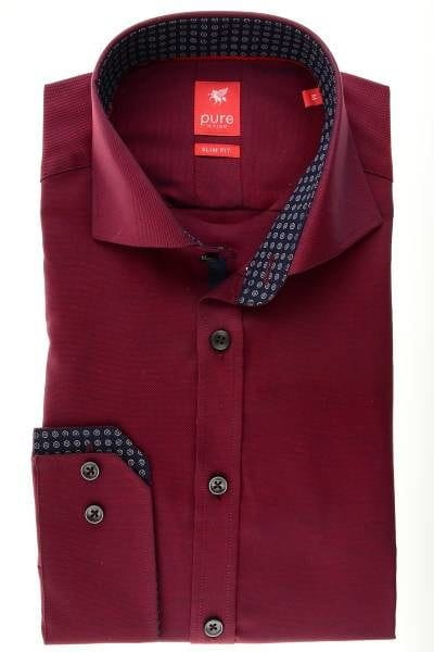 Pure Hemd - Slim Fit - bordeaux, Einfarbig
