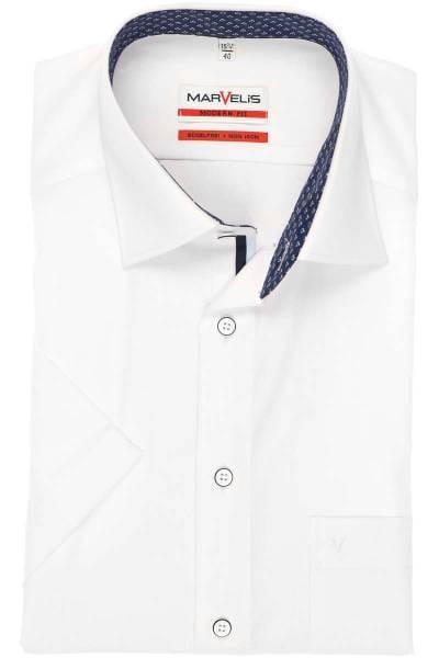 Marvelis Modern Fit Hemd weiss, Einfarbig