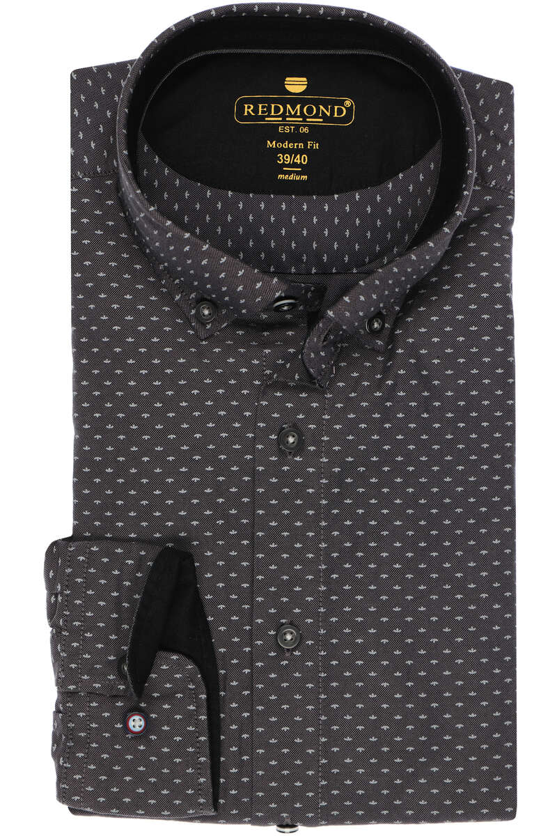 Redmond Modern Fit Hemd schwarz, Gemustert S