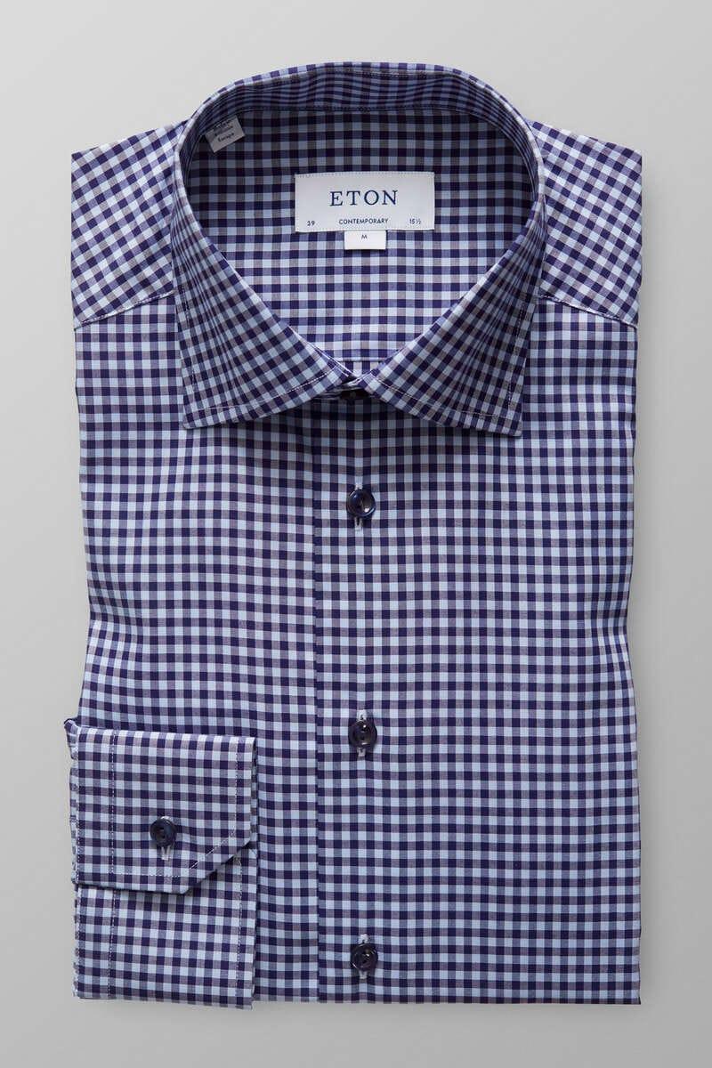 ETON Contemporary Fit Hemd marine/blau, Kariert 40 - M