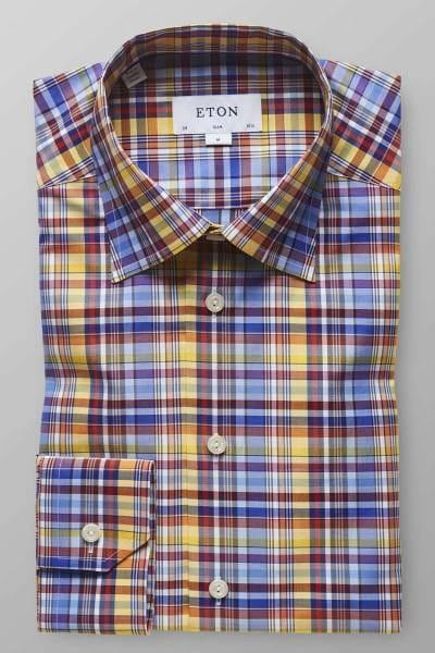 ETON Slim fit Hemd blau/gelb, Kariert