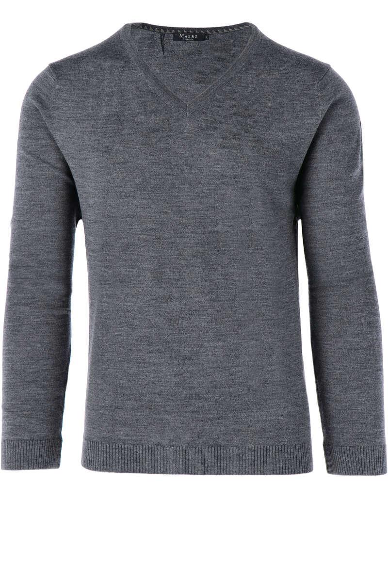 Maerz Modern Fit Pullover V-Ausschnitt dunkelgrau, einfarbig 50