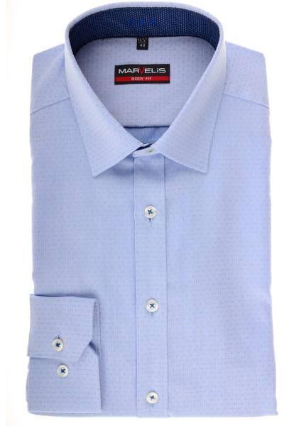 Marvelis Body Fit Hemd bleu/blau, Gemustert