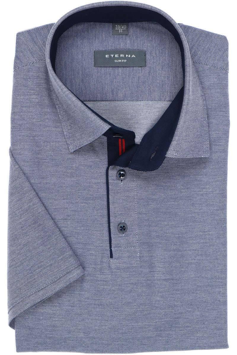 ETERNA Slim Fit Poloshirt jeansblau, Einfarbig