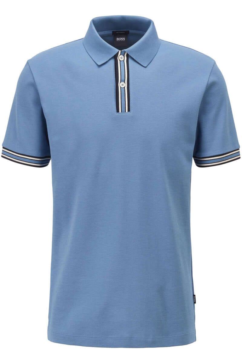 BOSS Regular Fit Poloshirt blau, Einfarbig L