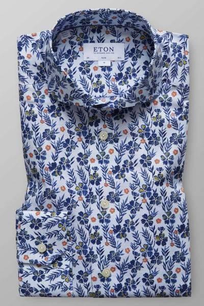 ETON Slim Fit Hemd blau/weiss, Gemustert