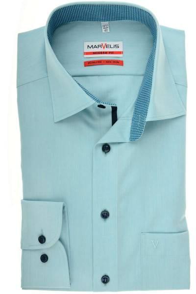 Marvelis Modern Fit Hemd smaragd, Einfarbig