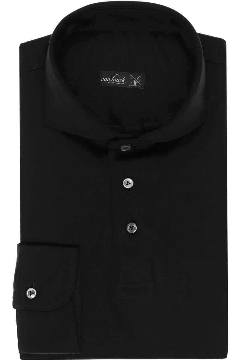 van Laack Slim Fit Jerseyhemd schwarz, Einfarbig S