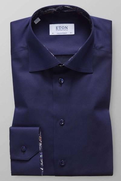 Eton Contemporary Fit Hemd dunkelblau, Einfarbig