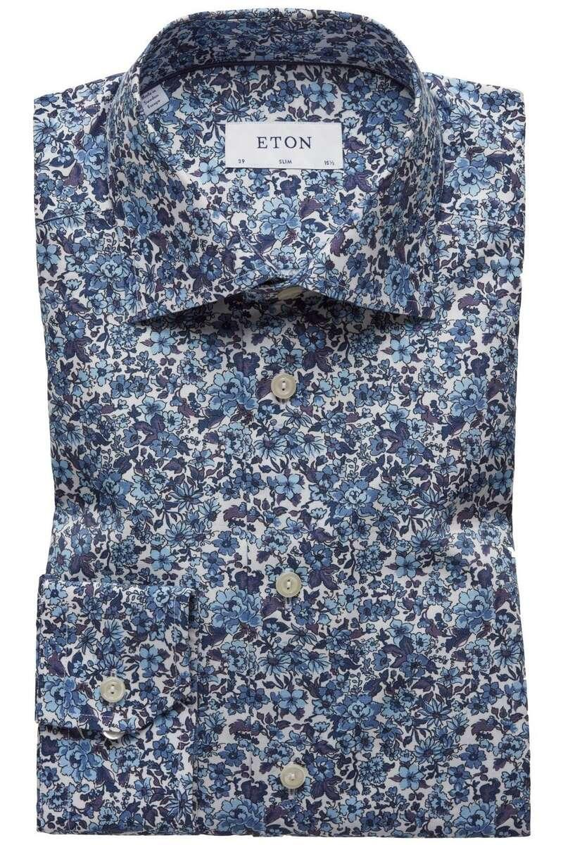 ETON Slim Fit Hemd blau/weiss, Blumen 43 - XL