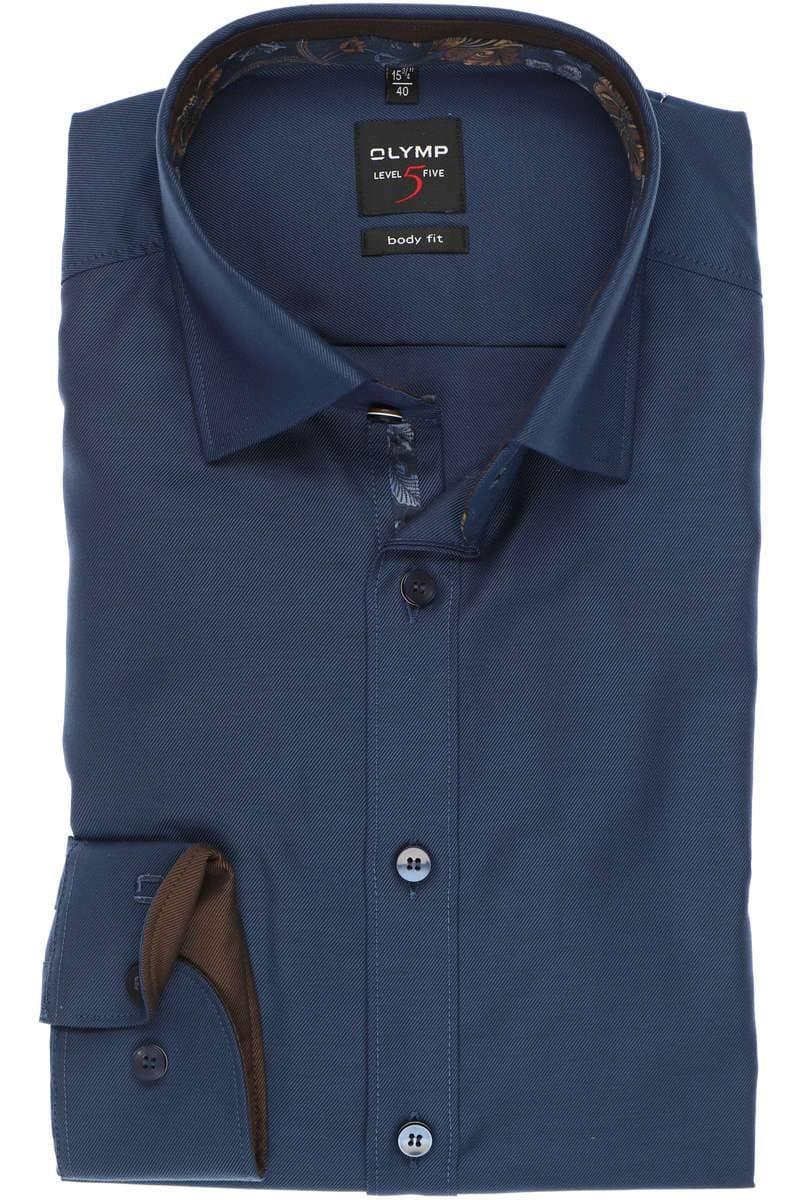 OLYMP Level Five Body Fit Hemd marine, Einfarbig