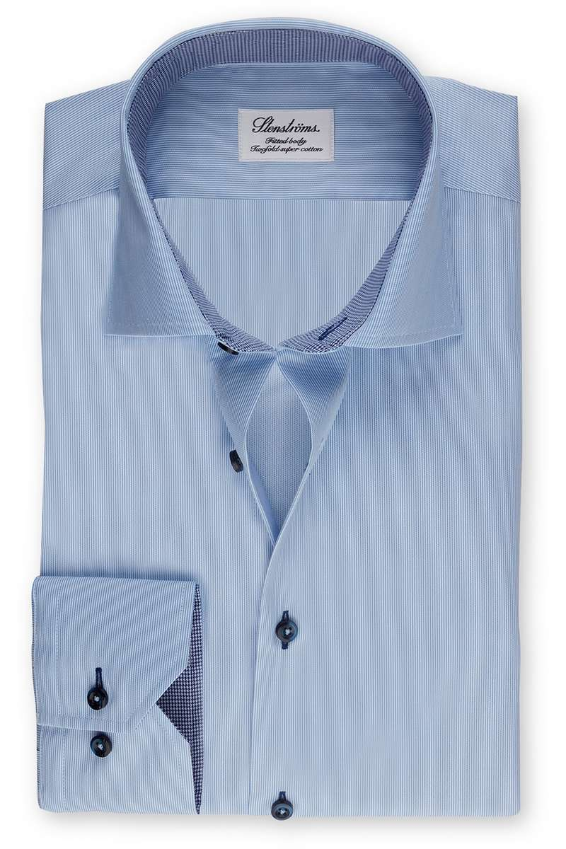 Stenströms Fitted Body Hemd blau, Gestreift 43 - XL