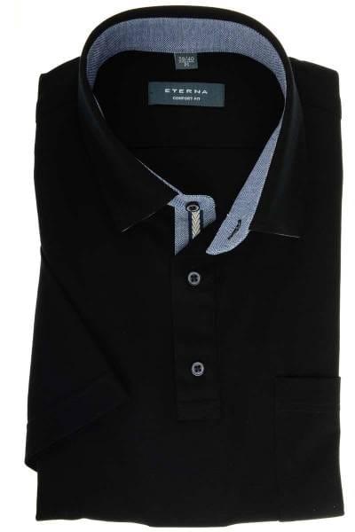 ETERNA Comfort Fit Hemd schwarz, Einfarbig