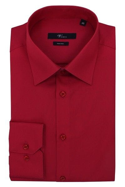 Venti Hemd - Modern Fit - rot, Einfarbig