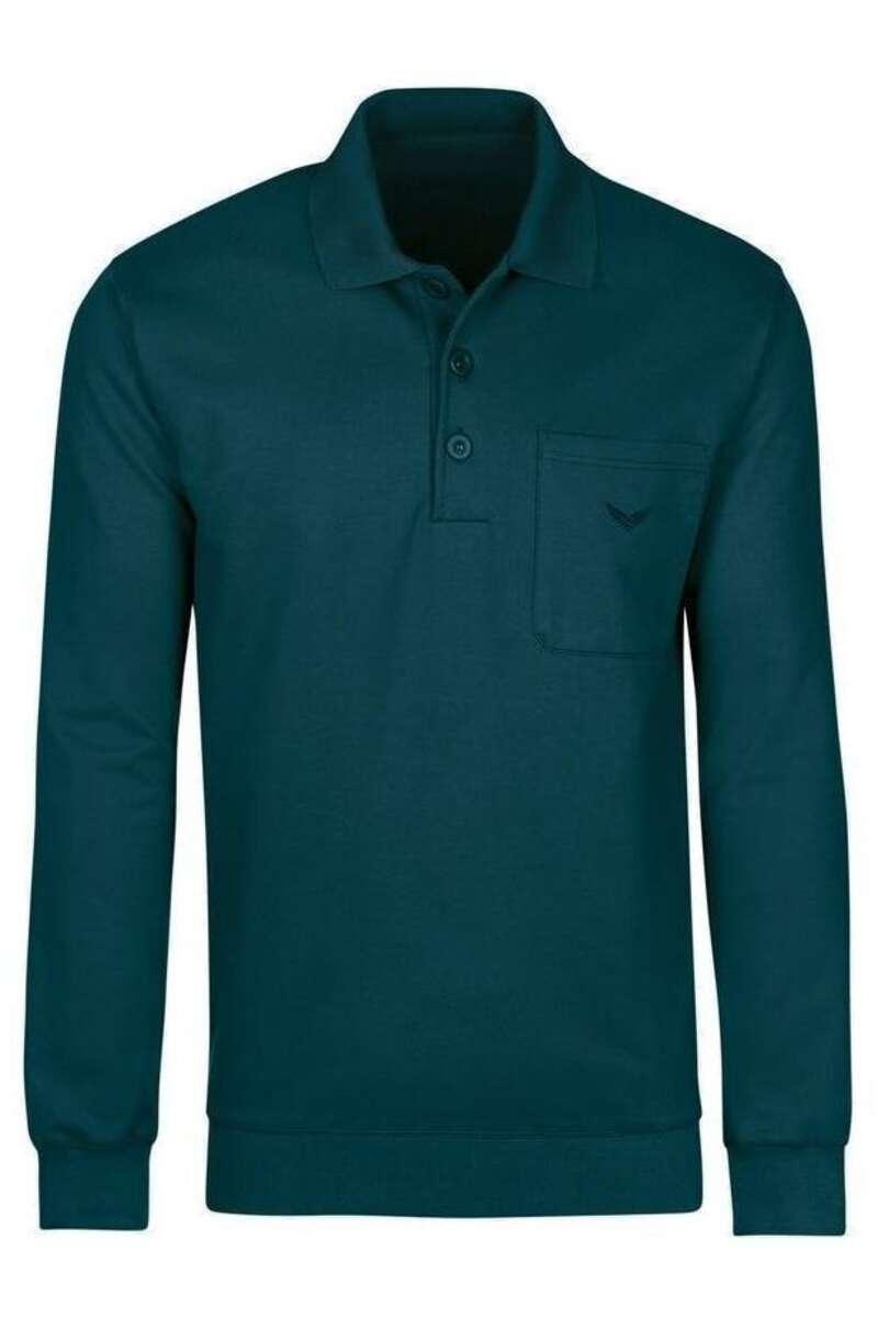 TRIGEMA Comfort Fit Longsleeve Poloshirt türkis, Einfarbig M