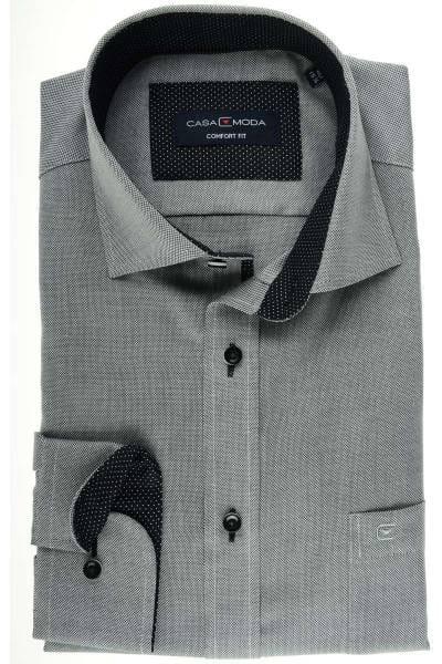Casa Moda Comfort Fit Hemd schwarz/weiss, Strukturiert