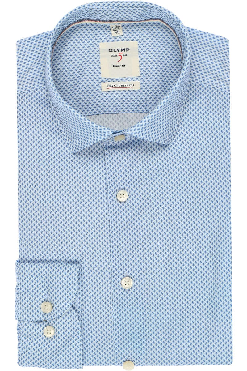 OLYMP Level Five smart business Body Fit Hemd blau/weiss, Gemustert 38 - S