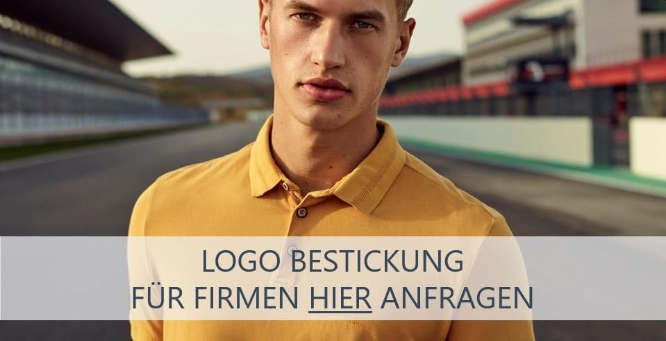 Orange Poloshirts besticken lassen