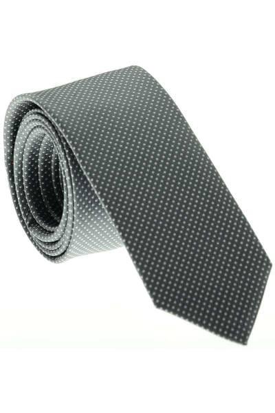 OLYMP Super Slim Krawatte Aus 100% Seide Grau/weiss, Gepunktet
