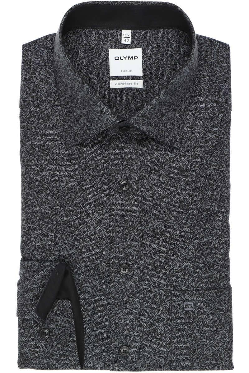 OLYMP Luxor Comfort Fit Hemd schwarz/grau, Gemustert