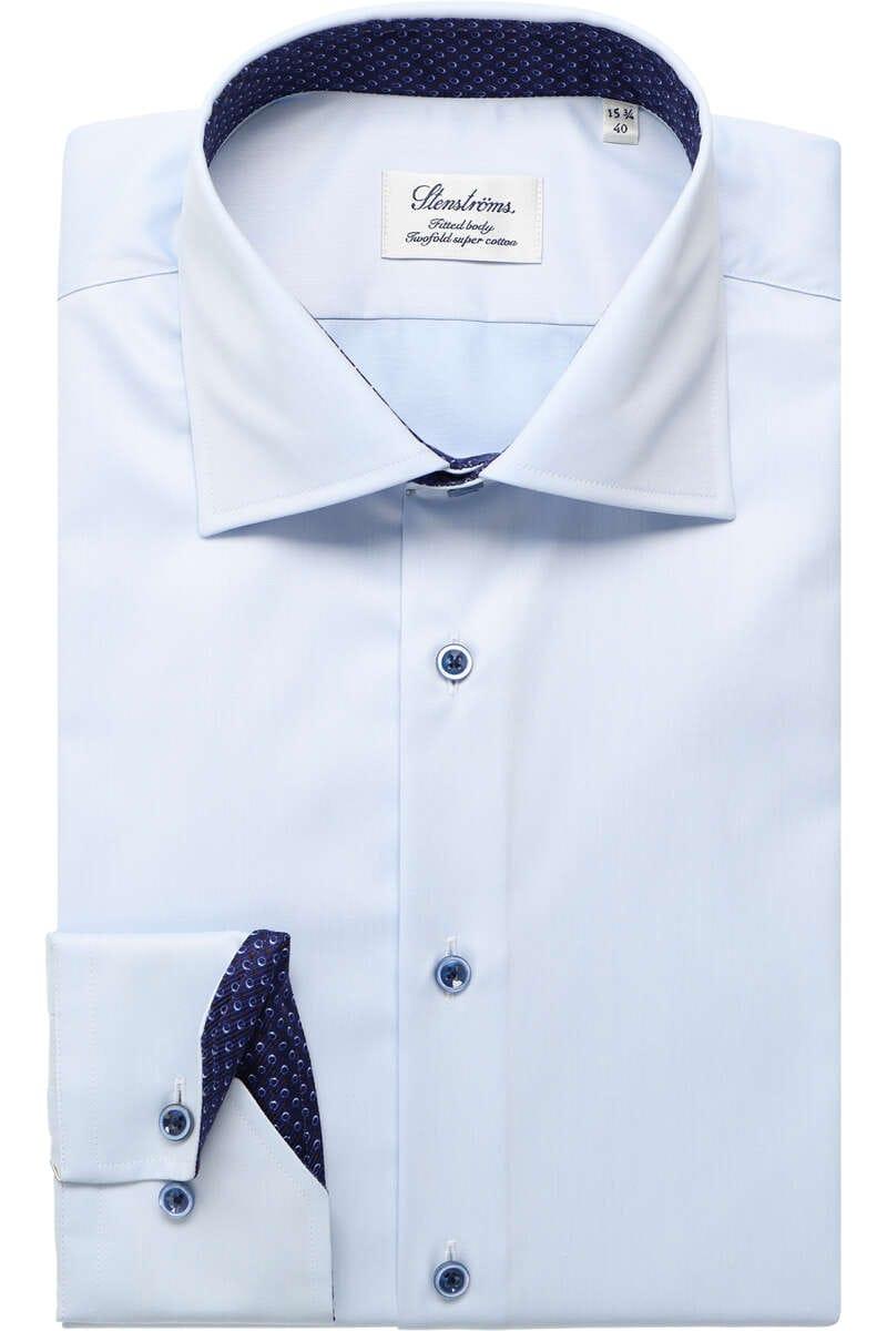 Stenströms Fitted Body Hemd hellblau, Einfarbig (extra langer Arm) 45 - XXL
