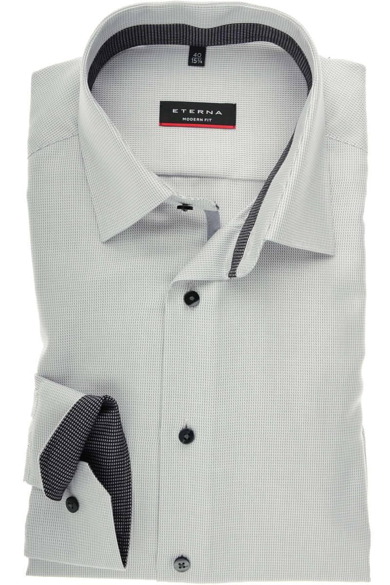 info for 9726d ad1f6 ETERNA Modern Fit Hemd grau, Strukturiert