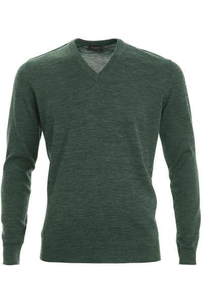 MAERZ Strickpullover Classic Fit V-Ausschnitt dunkelgrün, einfarbig